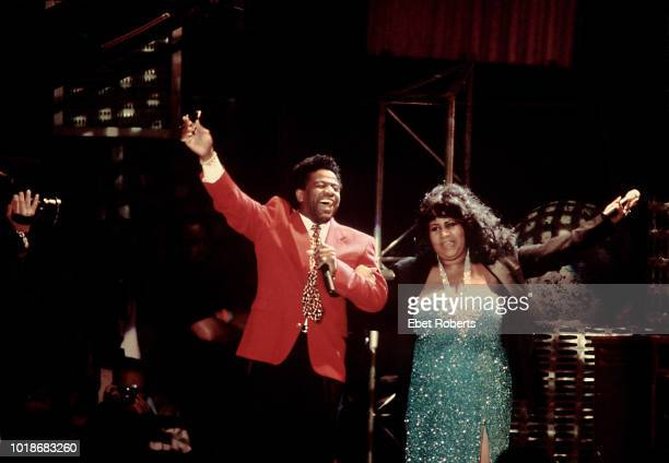 American singer, songwriter and record producer Al Green and American singer and songwriter Aretha Franklin performing at the Rock and Roll Hall of...
