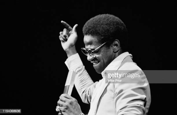 American singer, songwriter and record producer Al Green performing on stage, circa 1980.