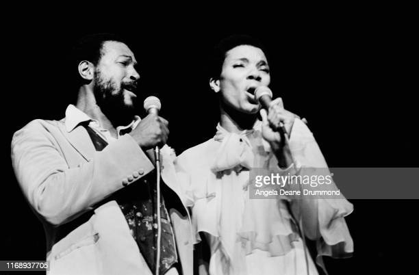American singer songwriter and record producer Marvin Gaye and Florence Lyles performing on stage UK 29th September 1976