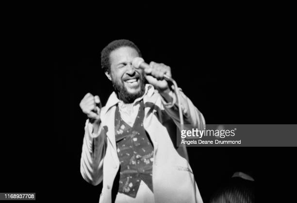 American singer songwriter and record producer Marvin Gaye performing on stage UK 29th September 1976
