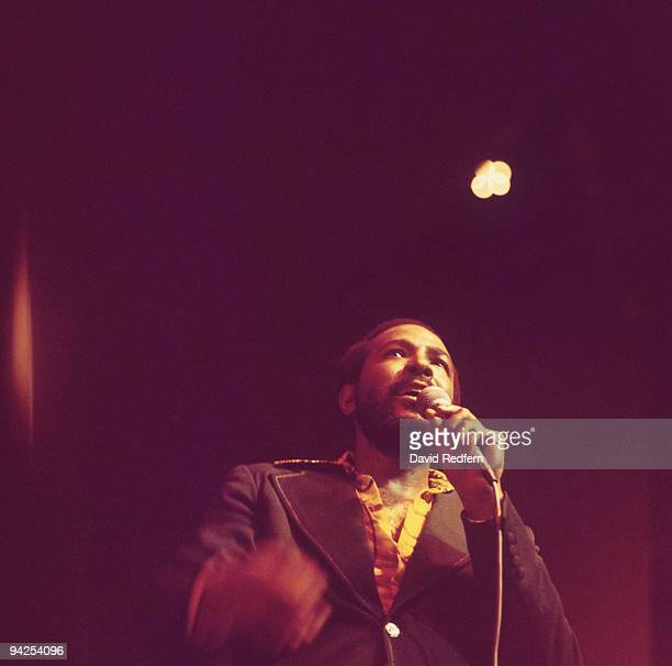 American singer Marvin Gaye performs on stage at the Royal Albert Hall in London England in September 1976
