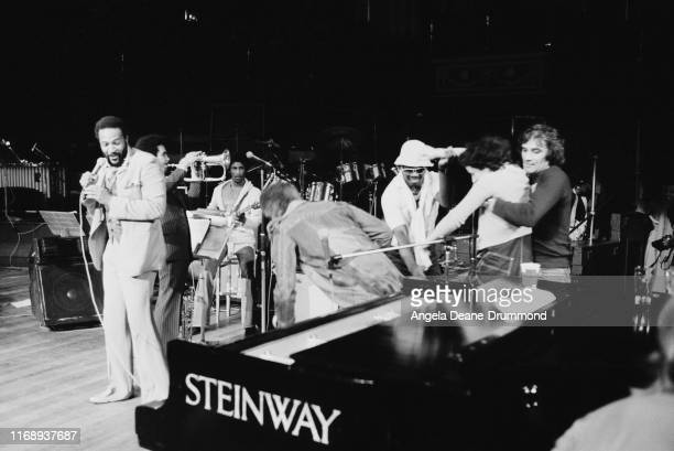 American singer songwriter and record producer Marvin Gaye rehearsing on stage UK 29th September 1976