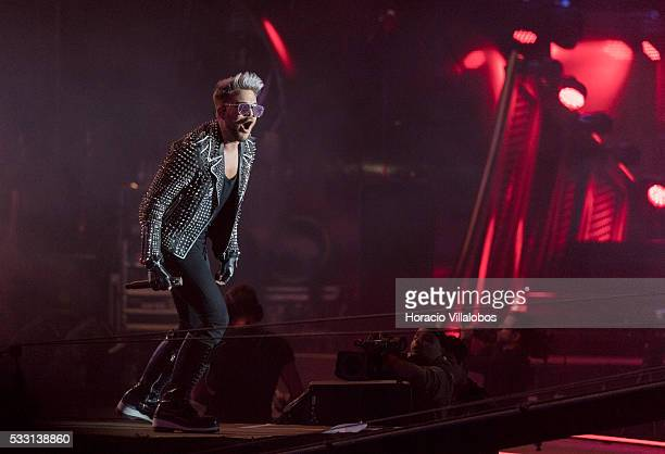American singer, songwriter and stage actor Adam Lambert performs during the Queen + Adam Lambert show during the second day of Rock in Rio Lisbon on...