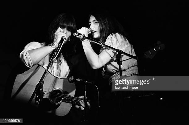 American singer, songwriter, guitarist and pianist Gram Parsons performing with American singer, songwriter, and musician Emmylou Harris at Max's...