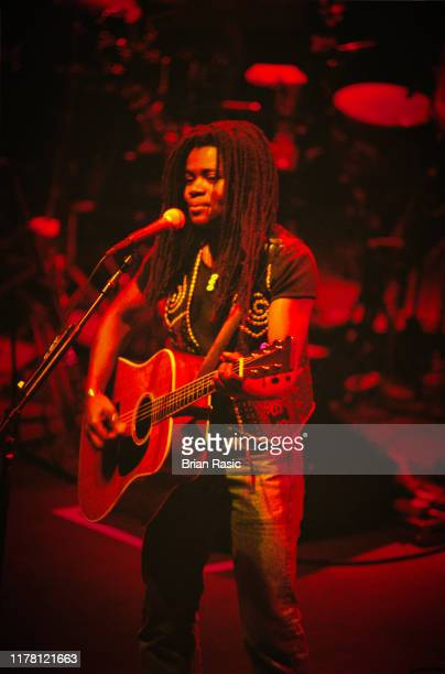 American singer, songwriter, musician and guitarist Tracy Chapman performs live on stage at the Shepherd's Bush Empire in London during the New...
