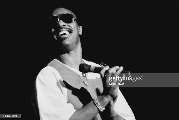 American singer, songwriter, musician, record producer, and multi-instrumentalist Stevie Wonder performing live, UK, 18th May 1984.