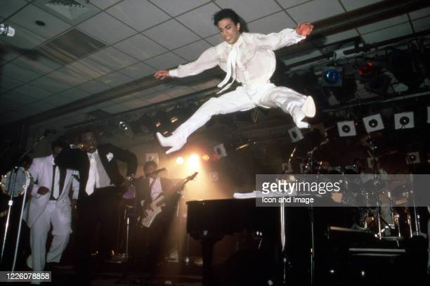 American singer, songwriter, musician, record producer, dancer, actor, and filmmaker Prince performs during what is essentially a public rehearsal...