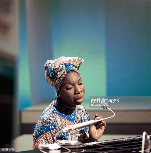 American singer, songwriter, pianist and civil rights activist Nina Simone performs on a television show at BBC Television Centre in London in 1966.