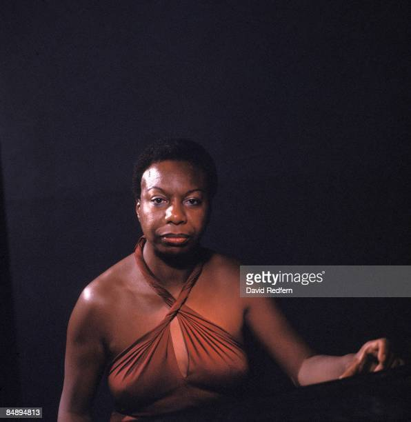 American singer songwriter pianist and civil rights activist Nina Simone posed at Ronnie Scott's Jazz Club in Soho London in November 1984