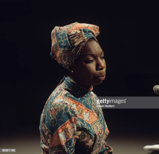 Singer Nina Simone performs on a tv show filmed at BBC Television Centre in London England in 1966