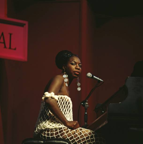 Nina Simone performs on stage at Newport Jazz Festival...