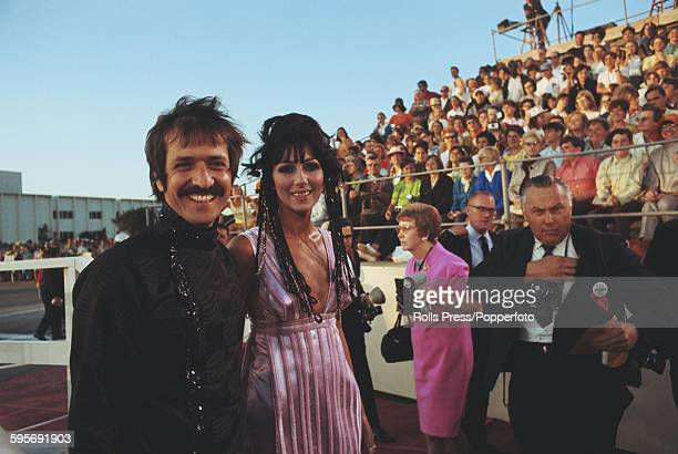 American singer Sonny Bono and Cher from vocal duo Sonny Cher pictured together attending the 40th Academy Awards at the Santa Monica Civic...