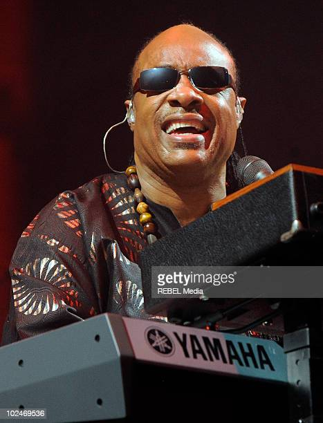 American singer Stevie Wonder performs on stage during the music festival at Worthy Farm on June 27 2010 in Glastonbury England