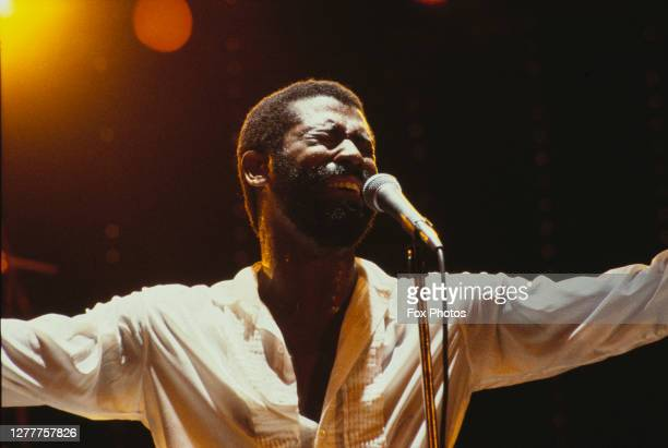 American singer Teddy Pendergrass in concert at the Hammersmith Odeon in London, UK, 5th February 1982.
