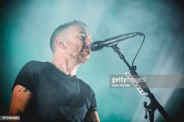 American singer Tim McIlrath of Rise Against performs live on stage during Day 2 of the Greenfield Festival on June 8 2018 in Interlaken Switzerland