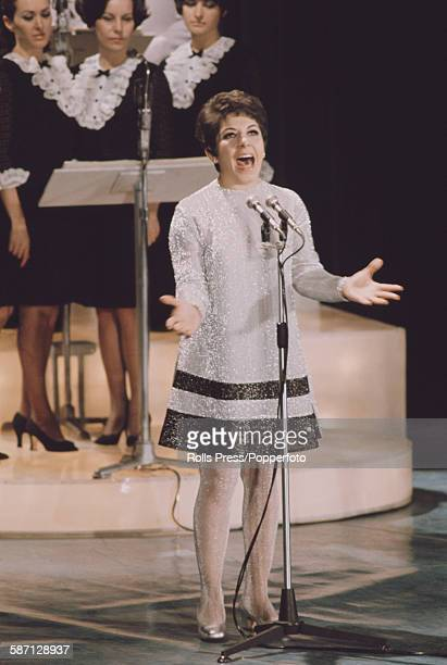 American singer Timi Yuro performs live on stage at the Sanremo Music Festival in Sanremo Casino Italy in 1968