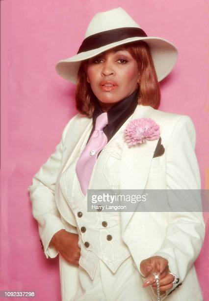American singer Tina Turner in a white suit and fedora Los Angeles California 1977