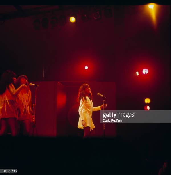 Singer Tina Turner of Ike and Tina Turner performs on stage with the Ikettes at the Newport Jazz Festival held in Newport Rhode Island in July 1970