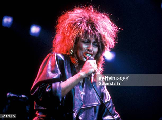 American singer Tina Turner on stage at Wembley Arena London March 1985
