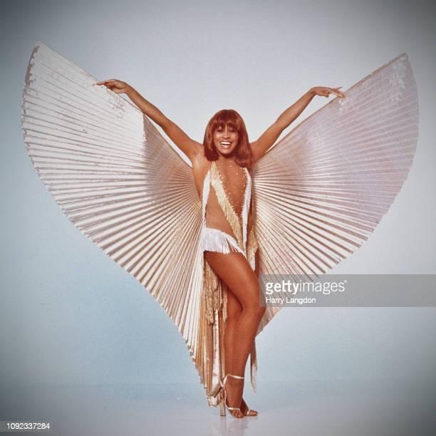 American singer Tina Turner posing in a wingedcostume Los Angeles California 1977