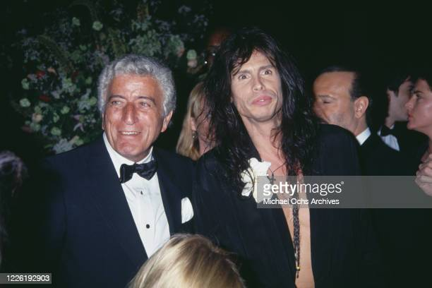 American singer Tony Bennett and American singer Steven Tyler attend the 36th Annual Grammy Awards, held at Radio City Music Hall in New York City,...