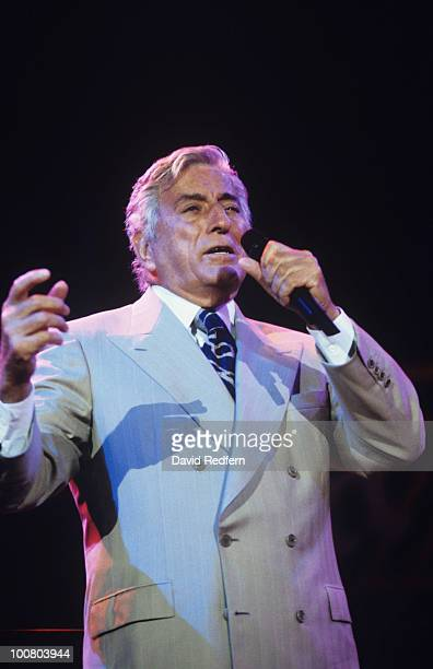 American singer Tony Bennett performs on stage at the Jazz A Vienne Festival held in Vienne France in July 1999