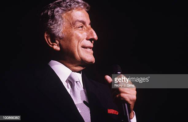 American singer Tony Bennett performs on stage at the Royal Albert Hall in London England in 1997