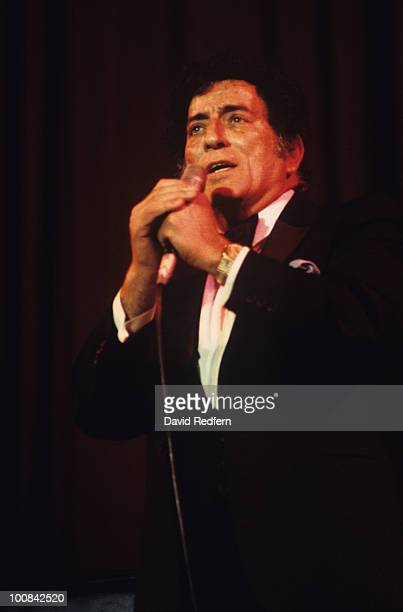American singer Tony Bennett performs on stage circa 1980