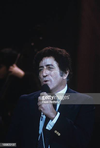 American singer Tony Bennett performs on stage in March 1982