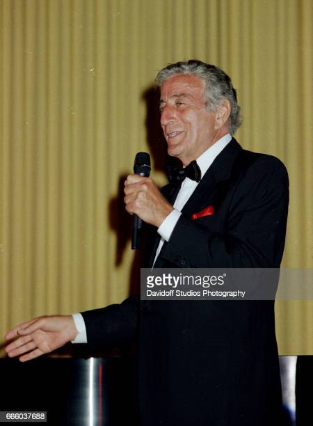 American singer Tony Bennett performs onstage at the MarALago estate Palm Beach Florida March 15 1997