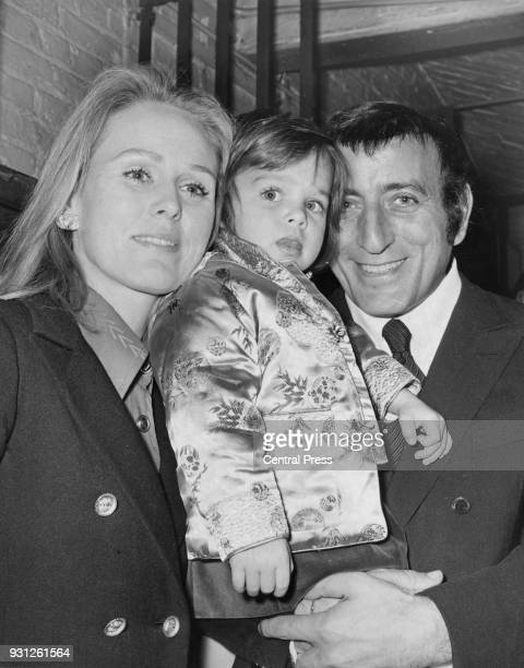 American singer Tony Bennett with his wife Sandra and their daughter Joanna at Ye Olde Cheshire Cheese pub in Fleet Street London 4th January 1972