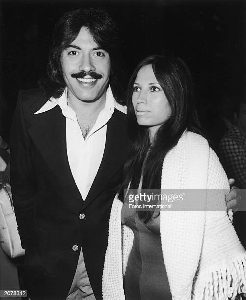 American singer Tony Orlando poses with his wife Elaine at a party Beverly Hills Hotel Beverly Hills California circa 1975