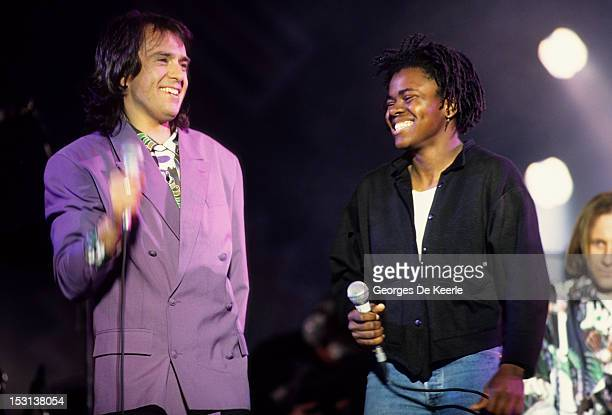 American singer Tracy Chapman and Peter Gabriel performing at a concert held to celebrate the release of African National Congress leader Nelson...