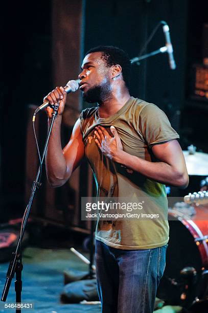 American singer Tunde Adembimpe, of the band TV on the Radio, performs onstage at 'Winter Soul' at the Brooklyn Academy of Music's Howard Gilman...