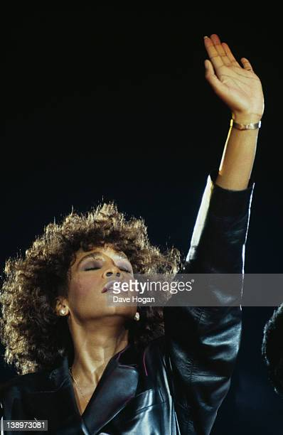 American singer Whitney Houston in concert circa 1988