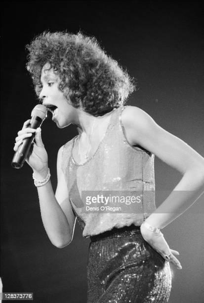 American singer Whitney Houston performing at Wembley Arena London circa 1988