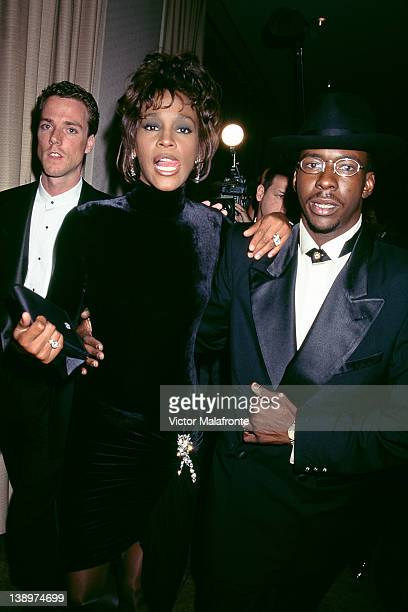 American singer Whitney Houston with singer Bobby Brown circa 1992