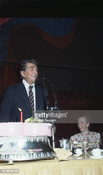 American singeractor Dean Martin at a Variety Club luncheon given in his honour with Princess Anne at the Hilton Hotel London 1983