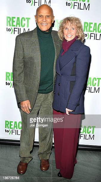 American singer/actor/activist Harry Belafonte and wife Pam Frank attend the Sing Your Song screening at the Museum of Modern Art on January 10 2012...