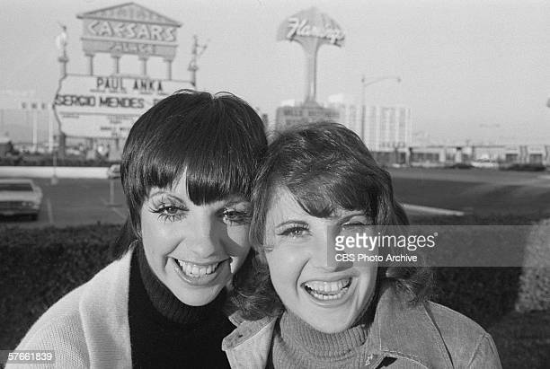 American singers actresses and sisters Liza Minnelli and Lorna Luft pose outside Caesar's Palace Las Vegas Nevada December 3 1972 They were in Las...