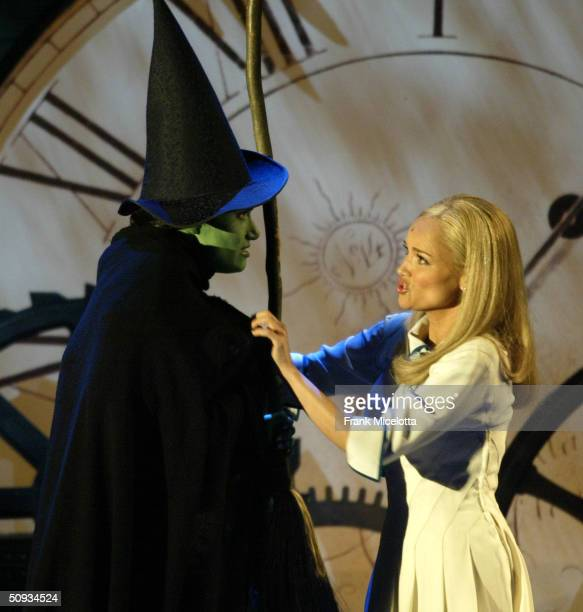 American singers and actresses Idina Menzel and Kristin Chenoweth of Wicked perform on stage during the 58th Annual Tony Awards at Radio City Music...