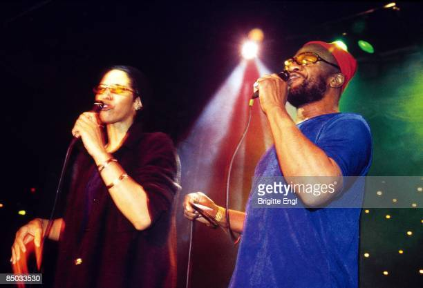 American singers Cecil Womack and Linda Cooke of Womack Womack perform live on stage in London in 1999