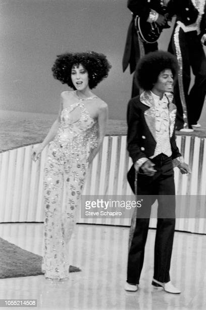 American singers Cher and Michael Jackson perform on an episode of the former's television variety show 'Cher' New York New York 1975 Members of...