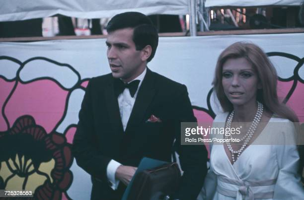 American singers Frank Sinatra Jr and Nancy Sinatra pictured together to attend their father Frank Sinatra's farewell retirement concert in Hollywood...