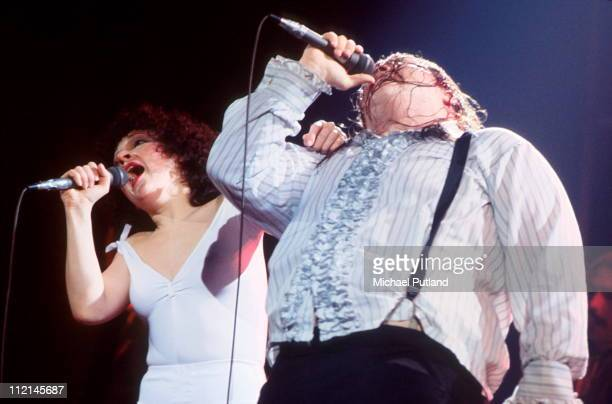 American singers Karla Devito and Meat Loaf performing on the Bat Out Of Hell Tour USA March 1978