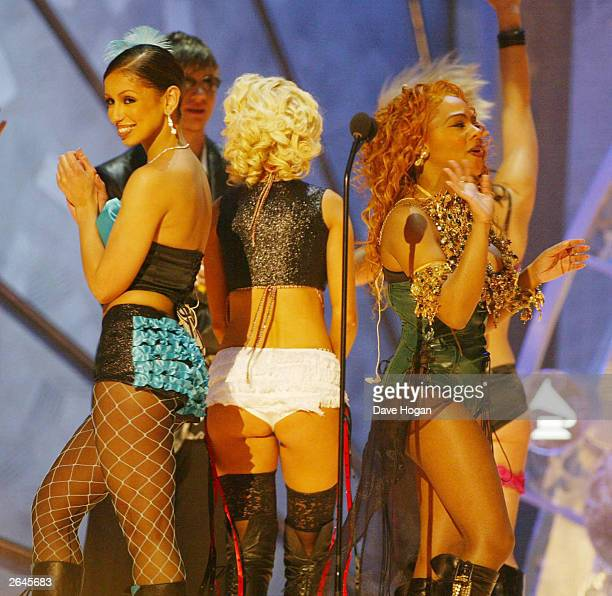 American singers Mya Christina Aguilera and Li'l Kim perform the single 'Lady Marmalade' from the film 'Moulin Rouge' on stage at the 44th Grammy...