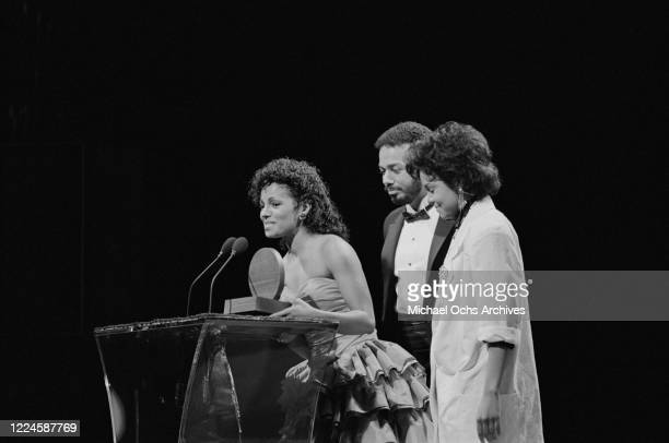 American singers Rebbie Jackson and Janet Jackson at the 1985 Black Gold Awards at the Cocoanut Grove, Ambassador Hotel, Los Angeles, 1985.