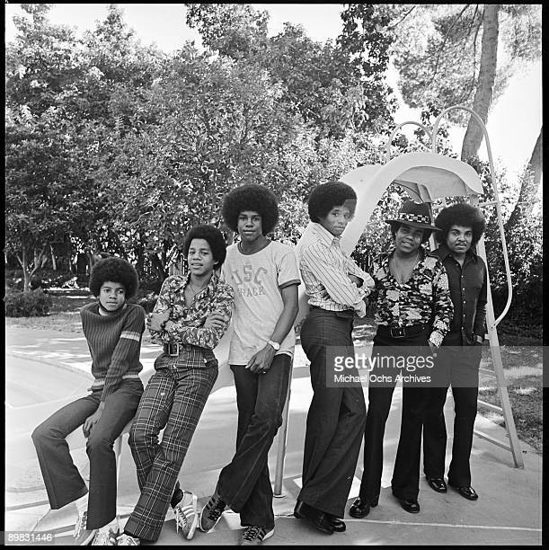 American singers the Jackson Five and their father Joseph at their home Los Angeles 18th December 1972 From left to right Michael Jackson Marlon...
