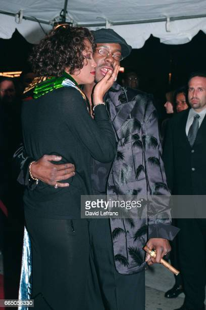 American singers Whitney Houston and husband Bobby Brown for the concert of the divas
