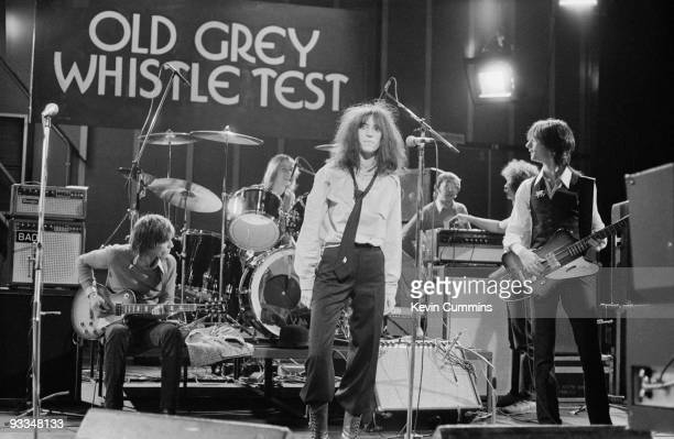 American singersingwriter Patti Smith and the Patti Smith Group with Lenny Kaye and Ivan Kral perform on the BBC television show 'The Old Grey...